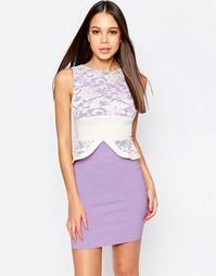 Платье-футляр с кружевным топом и баской Vesper Ronnie - Фиолетовый
