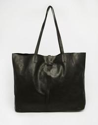 Кожаная сумка-шоппер без подкладки с ремешком ASOS - Черный