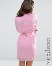 Халат с принтом Bridesmaid ASOS PETITE BRIDAL - Розовый