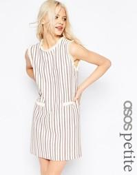 Цельнокройное платье из натуральных волокон в полоску ASOS PETITE