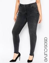 Выбеленные черные джинсы с завышенной талией ASOS CURVE Sculpt Me