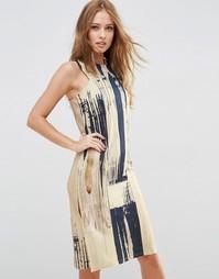 Платье миди с мраморным принтом ASOS - Мульти