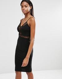 Платье на тонких бретельках с кружевной вставкой Missguided - Черный