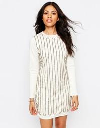 Расшитое бисером платье мини Glamorous - Кремовый
