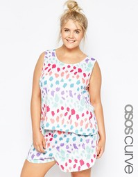 Пижамные майка и шорты в разноцветный горошек ASOS CURVE - Мульти