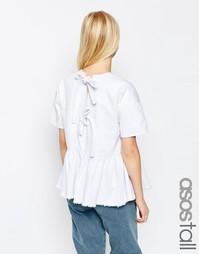 Белый джинсовый топ с завязками сзади и баской ASOS TALL - Белый