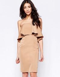 Платье-бандо с оборкой Glamorous - Кэмел