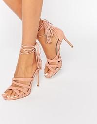 Розовые замшевые сандалии на каблуке с завязкой Faith Daft