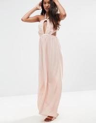 Пляжное платье макси с узлом спереди ASOS - Телесный
