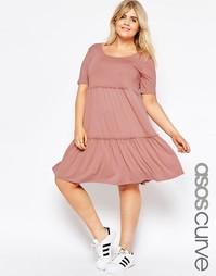 Ярусное свободное платье с короткими рукавами ASOS CURVE - Розовый