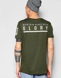 Свободная расклешенная футболка с рукавами в стиле милитари и принтом Asos
