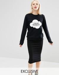 Свитшот с логотипом в облаке Cheap Monday - Черный