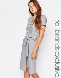 Платье с запахом и завязкой на талии Alter Tall - Светло-серый