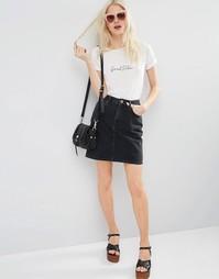 Черная джинсовая мини‑юбка с завышенной талией ASOS