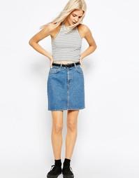 Синяя джинсовая мини‑юбка с завышенной талией ASOS - Синий выбеленный