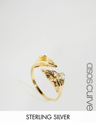 Позолоченное серебряное кольцо с листом ASOS CURVE - Золотой