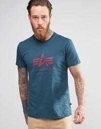 Синяя футболка с логотипом Alpha Industries - Ярко-синий