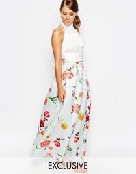 Атласная бальная юбка макси True Violet - Многоцветный цветочный