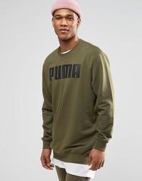 Удлиненный свободный свитшот цвета хаки Puma - Зеленый