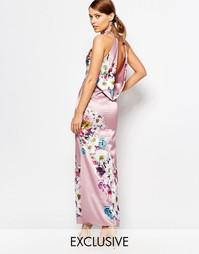 Атласное платье макси со свободным воротом сзади True Violet