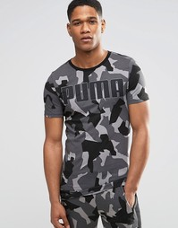 Серая удлиненная облегающая футболка с камуфляжным принтом Puma