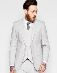 Серый пиджак слим в крапинку ASOS - Серый