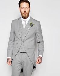 Серый пиджак зауженного кроя с шлейфом сзади ASOS Wedding - Серый