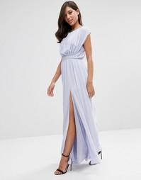 Платье макси с отделкой на талии ASOS - Синий вереск