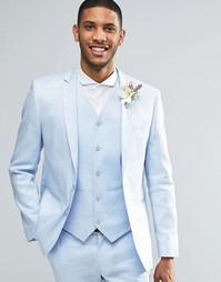 Голубой облегающий пиджак из ткани на основе льна ASOS - Синий