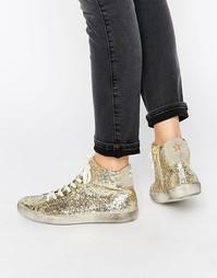 Высокие кроссовки с золотыми блестками KG By Kurt Geiger - Золотой