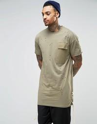 Длинная потертая футболка Granted - Хаки
