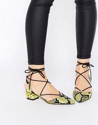 Туфли на каблуках с острым носом и шнуровкой ASOS STORY - Желтый