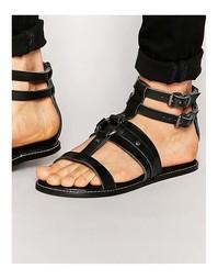 Черные кожаные сандалии ASOS - Черный