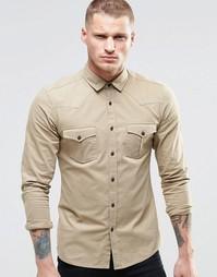 Рубашка в стиле вестерн с длинными рукавами ASOS - Stone