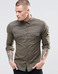 Зауженная рубашка в стиле вестерн цвета хаки с длинными рукавами ASOS