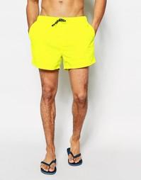 Короткие шорты для плавания яркого желтого цвета ASOS