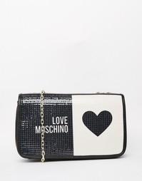 Стеганая сумка на плечо с логотипом Love Moschino - Черный