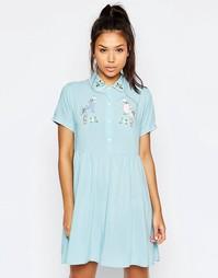 Платье-рубашка на пуговицах с принтом птицы в стиле ретро Lazy Oaf