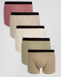 Набор из 5 боксеров-брифов цвета хаки ASOS, СКИДКА 28% - Мульти