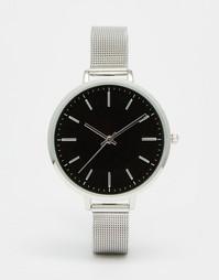 Часы с большим циферблатом и сетчатым ремешком ASOS - Серебряный