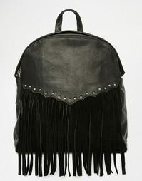Рюкзак в стиле вестерн из кожи и замши ASOS - Черный