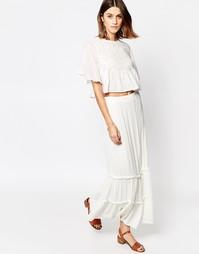 Многоярусная юбка макси Vero Moda - Снежно-белый