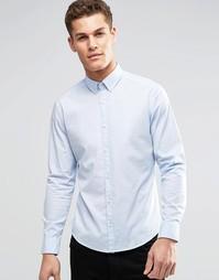 Хлопковая эластичная рубашка узкого кроя Esprit - Небесно-голубой