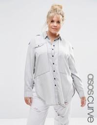 Серая джинсовая рубашка в стиле милитари ASOS CURVE