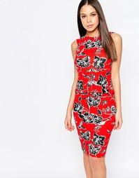 Платье-футляр с принтом и баской Vesper Yasmin - Красный