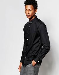Строгая рубашка слим с контрастными пуговицами Selected Luca - Черный