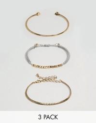 Набор из 3 разомкнутых браслетов в виде цепочки ASOS - Серый