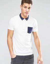 Трикотажная футболка-поло с отделкой в горошек Esprit - Белый