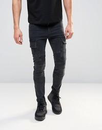 Супероблегающие джинсы в байкерском стиле ASOS - Выбеленный черный