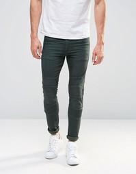 Супероблегающие джинсы цвета хаки в байкерском стиле ASOS